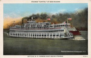 Steamer Capitol at New Orleans, Early Linen Postcard, Unused
