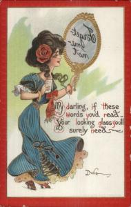 DWIG Beautiful Woman w/ Mirror Puzzle Reverse Writing Series 30 c1910 Postcard