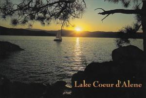 Idaho Lake Coeur d' Alene Sailing At Sunset