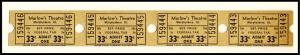 Four .33 Cents Marlow's Movie Theatre Tickets, Murphysboro, Illinois/IL, 1950's?