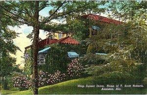 Sunset Drive Home T. Scott Roberts Anniston Ala. Postcard Standard View Card