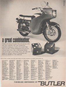 Butler Elite 1966 Motorcycle Ad, Butler Fiberglass Bodyguard, Pair of Dice