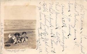 A80/ Cleveland Ohio Postcard Real Photo RPPC 1905 Beach Eagle Cliffs Bathers