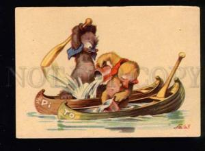 047256 Funny TEDDY BEAR in Boats old COMIC