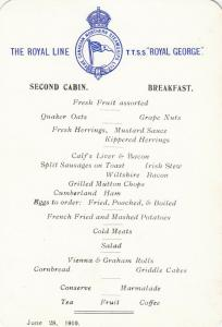 Royal Line Ocean Liner T.T.S.S. ROYAL GEORGE 1910 ; Breakfast, 2nd Cabin;#2