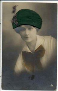Beautiful Woman NOVELTY ADD ON HAT & HAIR c1910 Real Photo Postcard #5