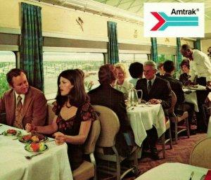 Vtg Postcard Advertising Ad Amtrak Train Deluxe Dining Car UNP Unused