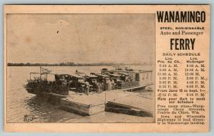 Prairie du Chien WI~Wanamingo Ferry Boat Daily Schedule~JH Zimmerman~1910 Cars