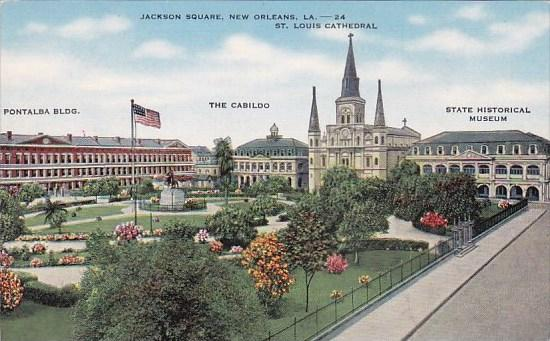 Jackson Square Pontalba Building The Cabildo Saint Louis Cathedral State Hist...