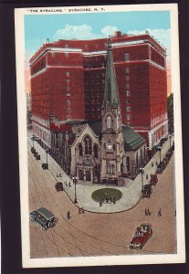 P1655 old unused postcard birds eye view street view the syracuse, syracuse ny