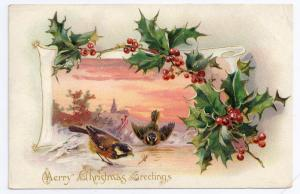 Merry Christmas Greetings Holly Birds Insect Embossed UND Tuck Vintage Postcard