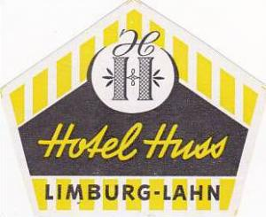 GERMANY LIMBURG-LAHN HOTEL HUSS VINTAGE LUGGAGE LABEL
