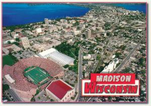 Aerial View of Madison WI, Wisconsin including Camp Randall Football Stadium