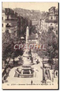 Old Postcard Lyon Monument Carnot and Rue de la Republique