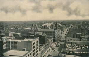 Birds Eye of Rochester New York - Looking East from St Paul and Main Street - DB