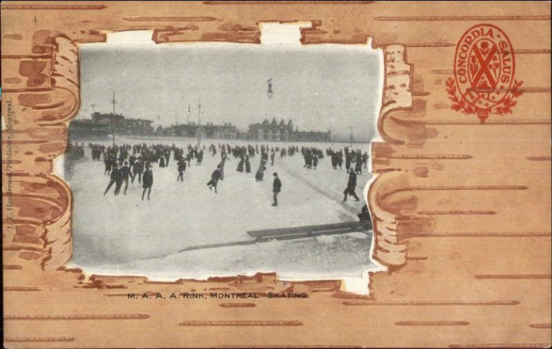 Montreal - Faux Bark Border c1910 Private Mailing Card ICE SKATING