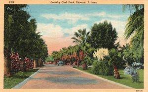 Phoenix, Arizona, AZ, Country Club Park, 1939 Linen Vintage Postcard g5712
