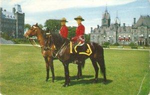Mounties on Horseback Nice vintage Canadian postcard