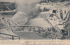 NIAGARA, Ontario, Canada, PU-1906; American Fall From Goat Island In Winter