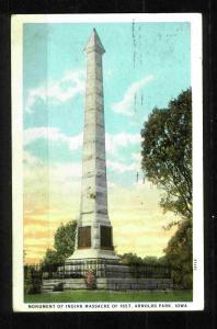 Postcard-Indian Massacre of 1857 - Arnolds Park, Iowa