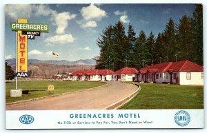 Postcard OR Tillamook Greenacres Motel 1950s R40