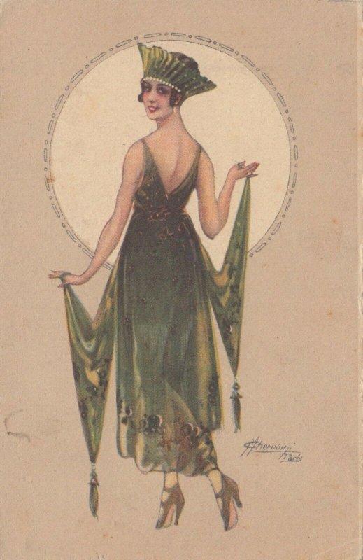 ART DECO ; CHERUBINI ; Female Fashion Portrait , 1910-30s