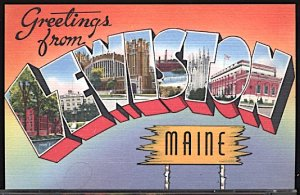 USA Postcard Large Letter Greetings From Lewiston Maine