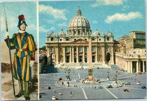 postcard Rome, Italy - St. Peter's Square split view with Swiss Guard