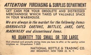 New York City~National Bottle & Trading Co~Obsolete Distressed Mdse~1955 Postal