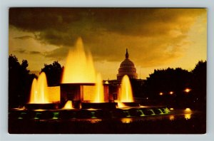 Washington DC, Scenic Night View, Nations Capital, Fountains, Chrome Postcard