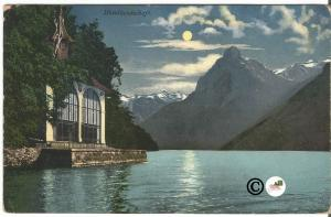 Vintage Postcard German Night Scene Chapel on the Lake Lucerne Switzerland