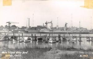 Vallejo CA~Mare Island Navy Yard~Battleship~Boat Docks~Cranes~Towers~1940s RPPC