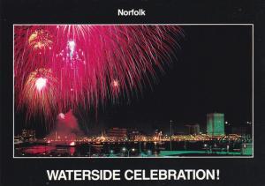 Waterside Celebration, Fireworks at Elizabeth River from Portsmouth Portside,...