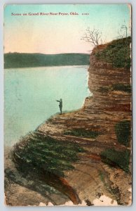 Pryor Oklahoma~Fellow on Bluff Points Across Grand River~Joe Done Planting~1913