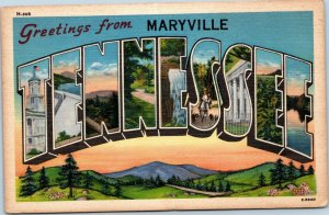 postcard large letter - Greetings from Maryville Tennessee