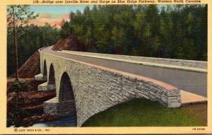 North Carolina Moonlight Over Linville River & Gorge On Blue Ridge Parkway Cu...