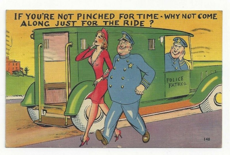 COMIC: Police Officer escorting pretty woman to back of paddy wagon, PU-1943