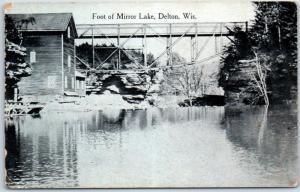 Delton, Wisconsin Postcard Foot of Mirror Lake Mill & Bridge View 1920s Unused