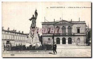 Old Postcard Saint Dizier The Town Hall and Monument