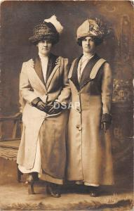 C32/ Canton Ohio Postcard Real Photo RPPC c1910 Well-Dressed Woman Large Hats