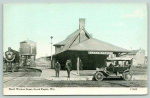 Grand Rapids WI~Train @ North Western Depot~Water Tank~Auto~1910 CU Williams