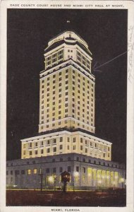 Florida Miami Dade County Court House And Miami City Hall At Night