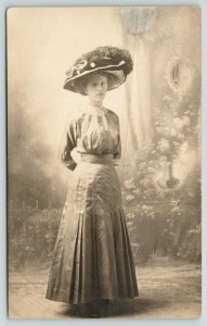 RPPC Full Body Portrait of Lovely Lady w/Extra Large Hat of Feathers~RPPC 1910