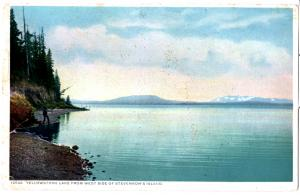 YELLOWSTONE, YELLOWSTONE LAKE FROM WEST SIDE OF STEVENSON'S ISLAND, DIVIDED BACK