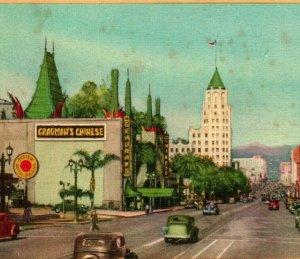 Vtg Lino Cartolina Hollywood California Hollywood Boulevard Auto Grauman's Unp