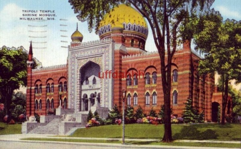 the Indian Saracenic Architecture of the TRIPOLI TEMPLE, MILWAUKEE, WI 1952