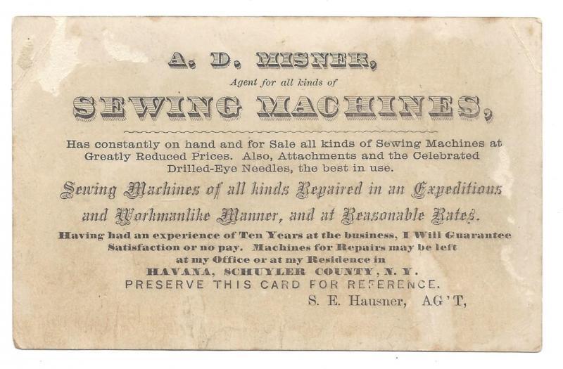 Domestic Sewing Machine Victorian Trade Card AD Misner Agent Havana Schuyler NY