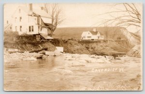 Cavendish Vermont~House in Mud Slide Bank of Black River~1927 Flood~RPPC