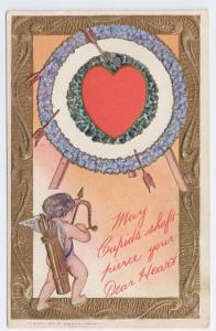 Valentine Postcard Cupid Bow Arrow Target Embossed Gold Vintage 1907 The Rose Co