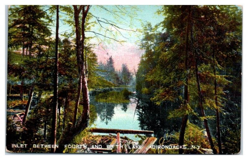 Early 1900s Inlet between Fourth and Fifth Lake, Adirondacks, NY Postcard